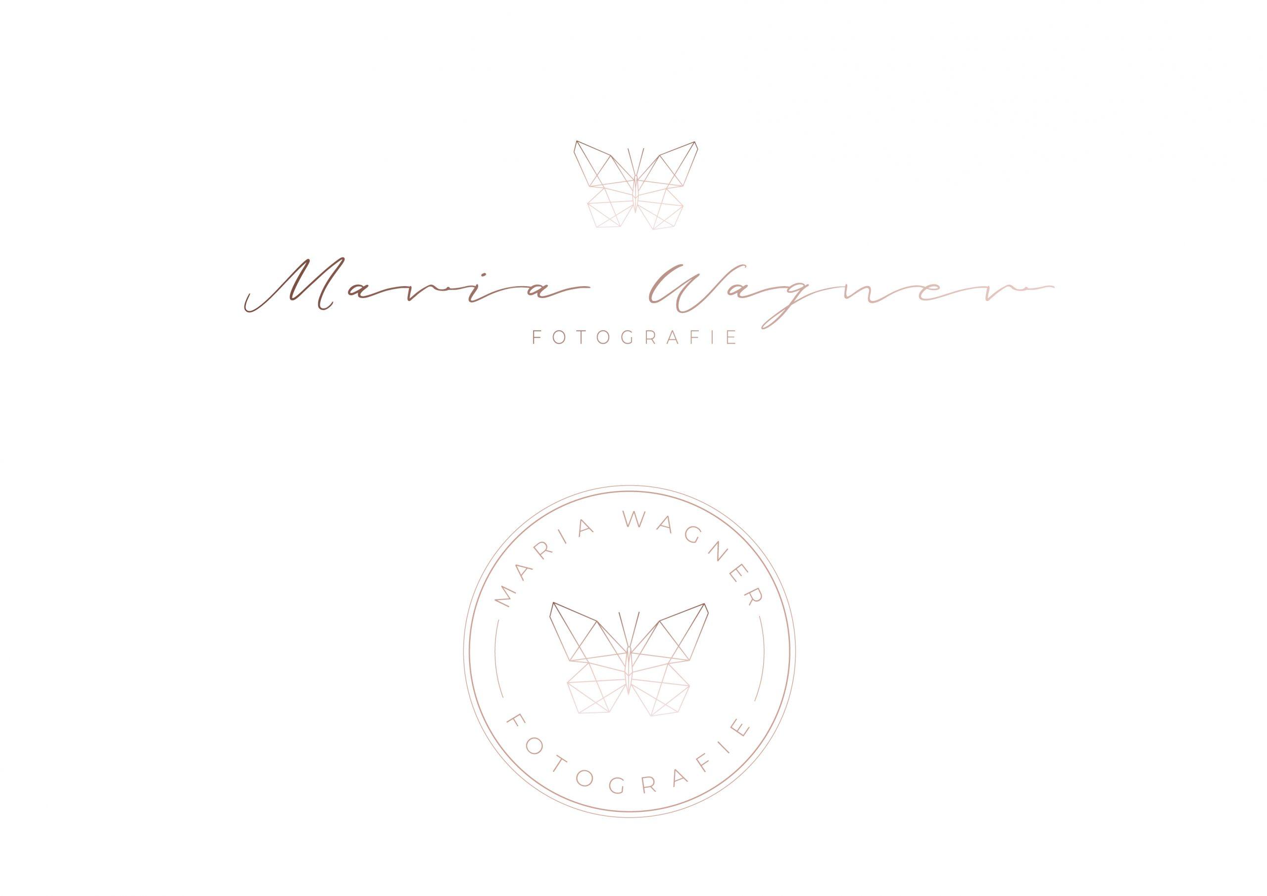 Logodesign Fotografie Hochzeitsfotografie Neugeborenenfotografie Familienfotografie roségold Schmetterling Logo